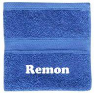 Cobalt blauwe badlaken met naam! PrachtigKado.nl