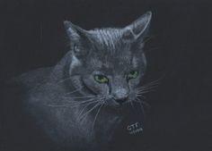 Grey Cat by Geoff Fielding http://artdiscoveredonline.co.uk/artist-page/?artist=Geoff_Fielding