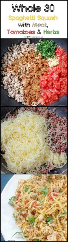 This healthy and simple whole 30 compliant one-pot meal consists of spaghetti squash, ground meat, diced tomatoes and fresh herbs. healthy slow cooker / crockpot recipe (Simple Whole 30 Recipes) Whole 30 Diet, Paleo Whole 30, Whole 30 Recipes, Healthy Drinks, Healthy Snacks, Healthy Eating, Whole 30 Spaghetti Squash, Healthy Spaghetti Squash Recipes, Spaghetti Crockpot