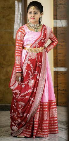 Bridal Silk Saree, Silk Sarees, Lehanga For Kids, Kids Wear, Children Wear, Half Saree Lehenga, Dupion Silk, Pink Color, Blouse Designs