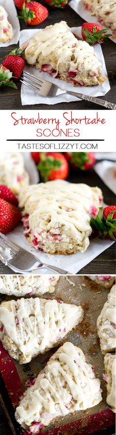 STRAWBERRY SHORTCAKE SCONES on MyRecipeMagic.com. Soft, buttery strawberry shortcake scones stuffed with fresh strawberries and topped with sugary streusel and vanilla glaze. Breakfast at its best!