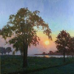 "John Cosby | ""Sunset on the Pond"" Oil on Linen"