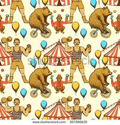 Sketch circles seamless pattern in vintage style. Bear ridding on a bicycle…