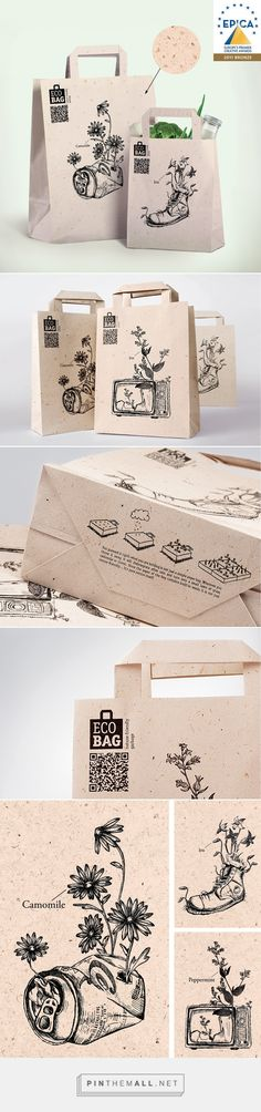 Eco Bag - packaging for a cause Flyer Inspiration, Packaging Inspiration, Inspiration Wand, Graphic Design Inspiration, Sacs Design, Web Design, Logo Design, Cool Packaging, Brand Packaging