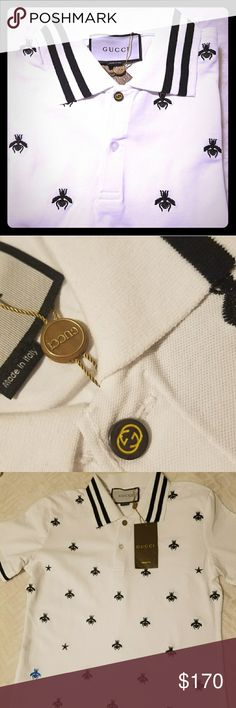 Stars n bees polo🌟🌟Gucci🔥🔥 Medium size   Stretch white cotton polo with bees and stars design Material is 100% cotton  What you see is what you get😍 Shirts Polos