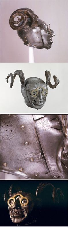HENRY VIII'S HORNED HELMET, 1500S :: Made by Konrad Seusenhofer,Innsbruck, Austria c. 1511-14. Part of an armour presented by the Holy Roman Emperor, Maximilian I, to Henry VIII. ( http://www.royalarmouries.org/visit-us/leeds/leeds-galleries/tournament-gallery/maximilian-i/the-horned-helmet-1-1 )
