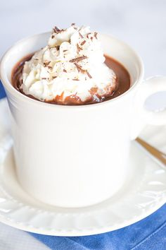Italian Hot Chocolate (Cioccolata Calda) - The thickest, richest, most amazing hot chocolate I've ever tasted!