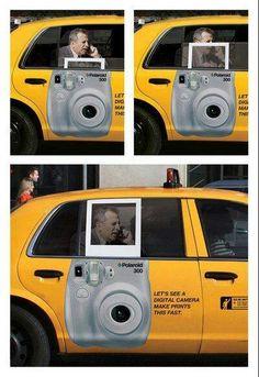 Polaroid utilza la ventanilla de un Taxi para expresar como funcionan sus productos. #solucion