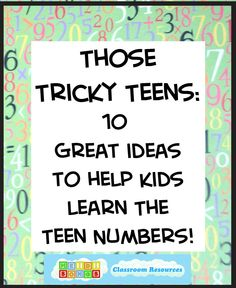 Tricky Teens and Twenties Those Tricky Teens: TEN Great Ideas to Help Kids Learn the Teen Numbers!Those Tricky Teens: TEN Great Ideas to Help Kids Learn the Teen Numbers! Teaching Teen Numbers, Numbers Kindergarten, Kindergarten Fun, Math Numbers, Teaching Math, Preschool, Fun Math, Math Activities, Maths