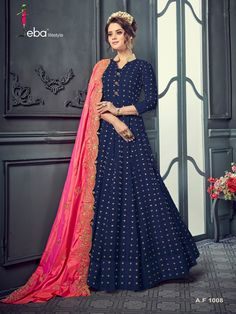 *Catalog:* Eba pure Cotton Buti Redymed Designer suit *Availibility:* Limited Stock DM for prices Designer Anarkali, Designer Gowns, Indian Designer Wear, Anarkali Dress, Anarkali Suits, Blue Dresses, Girls Dresses, Suits For Women, Clothes For Women