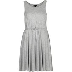 TOPSHOP Jersey Drawcord Waist Dress (66 BRL) ❤ liked on Polyvore featuring dresses, topshop, grey marl, sporty dresses, gray jersey dress, grey dresses, drawstring waist dress and jersey dresses