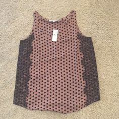 Loft tank with lace New with tags Loft tank with lace detail. Taupe with black dots and black lace. Size Medium LOFT Tops Tank Tops