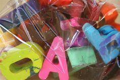 recycled crayons melted / cooled in alphabet shapes...silicone baking mold.