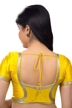 Bright #yellow festive wear raw #silk #blouse with round neck -BL644