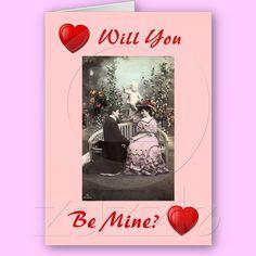 Customizable Vintage Valentines Greeting Card from Zazzle.com #valentine #greetingcard #vintage