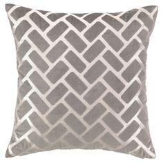 DL Rhein Rectangles Gray Embroidered Velvet Pillow @ZincDoor