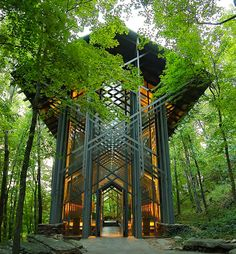 A truly heavenly modern church in the woods | Thorncrown Chapel | Eureka Springs, Arkansas | E. Fay Jones, architect
