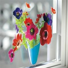 Instant (and lasting) cheer with Flat Flowers Window Cling. #FlowersForGrandmother #SmallSpaceLiving