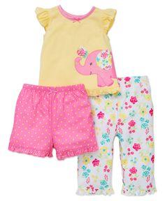Little Me Baby Girls' 3 Piece Pajama Set, Floral, 18 Months
