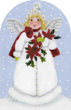 Melissa Shirley Designs | Hand Painted Needlepoint | Angel with Cape