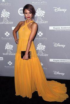 Jessica Alba wearing Giambattista Valli Spring 2016 Silk Georgette Halter Gown, Lee Savage Space Large Clutch and Brian Atwood Tribeca Sandals