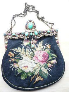 SPECTACULAR! Antique Vintage 19C Purse Berlin Work Roses Jeweled Frame BOOK
