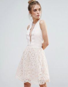 Little Mistress Scallop And Crochet Mini Dress - Pink