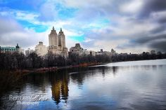 Line of Buildings seen from across Jacqueline Kennedy Onassis Reservoir in Central Park.