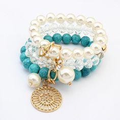Modern Boho Chic Charm Bracelet Jewelry Indo Western Look Vintage Bohemian Fashion Stone. Healing Power of Stone Bracelet. White, Blue and Gold