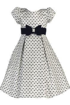 Silver Bow Design Jacquard Girls Pleated Holiday Dress w. Velvet Trim 6M-12 (C990)