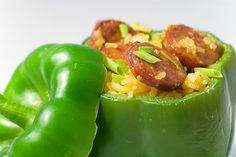 Linguica and Rice Stuffed Peppers #Portuguese #LinguicaRecipes Find Gaspar's linguica @FamousFoods.com   New England Food