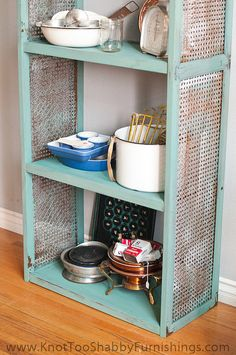 Solid Wood Cane Bookshelf  Painted in Miss Mustard Seed's Milk Paint Kitchen Scale with Grain Sack by shabbygirlglendora, $375.00