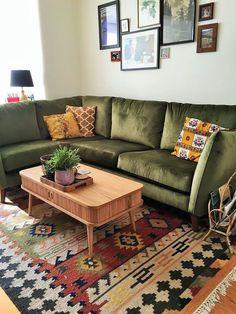 bohemian living room rug green vintage midcentury style corner sofa