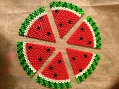 Watermelon magnets perler beads by Pearler Bead Patterns, Perler Patterns, Diy Crafts For Gifts, Creative Crafts, Perler Beads, Bead Crafts, Arts And Crafts, Watermelon Crafts, Fusion Beads
