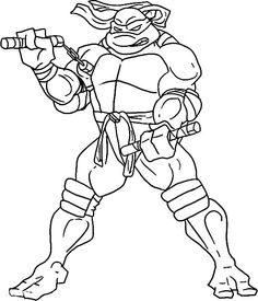 Teenage Mutant Ninja Turtles, : Michelangelo is Practising His Nunchaku Coloring Page