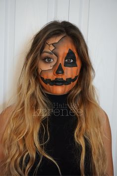 Pumpkin jack o lantern Halloween makeup by @kristenmackoul