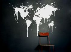 Map decal World map wall decal office home decor by WorldMaps, $68.00