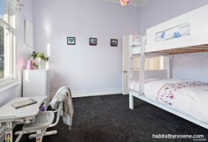 A spare bedroom is given a cool backdrop in Resene Rakaia, perfect for showcasing prized Dick Frizzell art and lending itself nicely to pops of bright colour. Paint Color Schemes, Home, Dream Bedroom, Bedroom Paint, Girls Bedroom, Spare Bedroom, Master Bedroom Paint, Colorful Interiors, Cool Backdrops