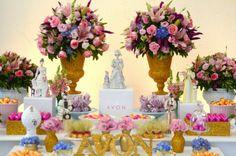 Festa nos tons rosa, azul e dourado, party ideia, party inspirations