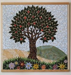 Apple Tree mosaic in the entryway of the BDB compound.  Designed by Anne Marie Price.