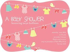 Lovely Laundry - Baby Shower Invitations - Ann Kelle - Watermelon Pink #TopPin #baby