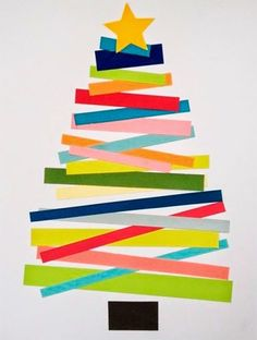 weihnachtskarten basteln tanne farbiges papier streifen // christmas cards - christmas tree with coloured paper stripes Christmas Activities, Christmas Crafts For Kids, A Christmas Story, Kids Christmas, Holiday Crafts, Christmas Decorations, Family Crafts, Easy Crafts For Kids, 242