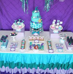 Ariel Birthday Party Fresh Little Mermaid Party Birthday 60, Birthday Party Desserts, 6th Birthday Parties, Birthday Ideas, Little Mermaid Birthday, Little Mermaid Parties, The Little Mermaid, Party Decoration, First Birthdays