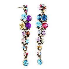 Colorful Corner Cut Gem Alloy Plating Resin Earrings – EUR € 2.75