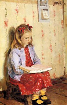 Yuri Podlyaski (1923 – 1987, Russian) Portrait Of Masha Surtukova Reading
