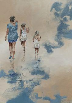 """- SAND -, """"retour de rentrée"""", ©Sandrine Gergaud, décembre 2015, 100x73cm, peinture acrylique sur toile."""