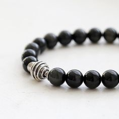 Black Obsidian Bali Sterling Silver Beaded Bracelet by TheGoosle