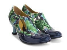 Ella Baker (Blue/Floral Python) | Brogued Heel with Cutout