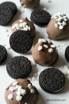 Snowflake OREO Cookie Balls - So simple to make and so delicious!  The perfect dessert for any celebration!