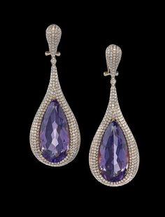 Pair of 18 Kt., Amethyst and Diamond Earrings : Lot 998